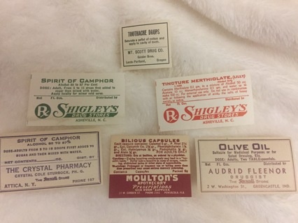 6 ASSORTED PHARMACY EPHEMERA VINTAGE LABELS TOOTHACHE DROPS AND MORE