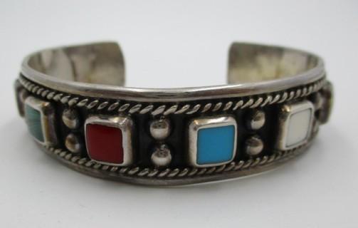 Vintage Taxco Sterling Stone Cuff Bracelet