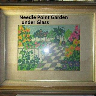 Folk art needle point garden patio scene frame mat