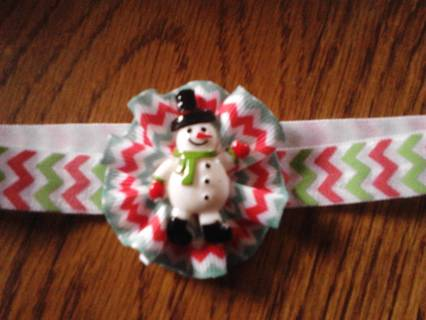 NEW HAND MADE NEWBORN CHRISTMAS CHEVRON ELASTIC HEADBAND WITH SNOWMAN