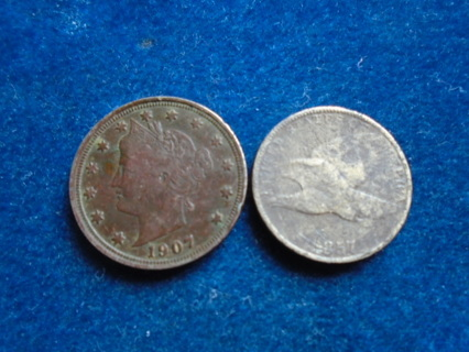 1857 & 1911 U.S. OLD COINS FULL DATES!