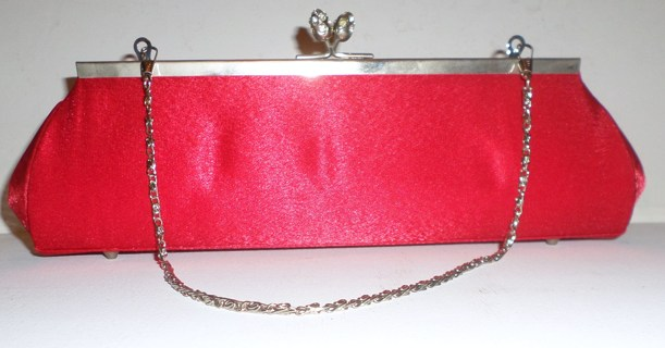 NWOT RED SATIN CLUTCH with Silver Hardware