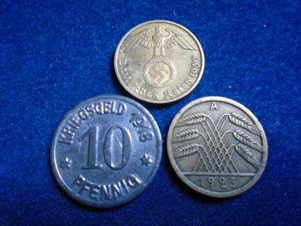 1918 1923 & 1937 GERMANY EMPIRE & NAZI GERMANY COINS!