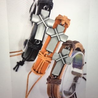 6 Pack Leather Cross Bracelet Lot