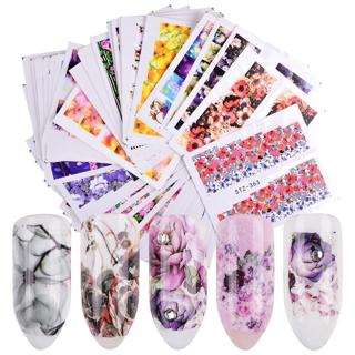 48 Sheets Pretty Nails Wraps Flower Water Transfers Nail Art Stickers Foil Manicure Decal Decorati