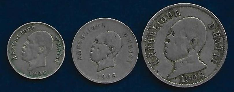 HAITI 1905 1906 & 1908 COINS FULL BOLD DATES!