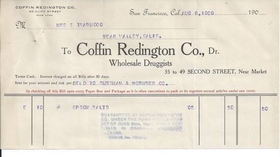 San Francisco: 1909  Coffin Redington Wholesale Druggist Billhead Receipt Invoice for Epsom Salts