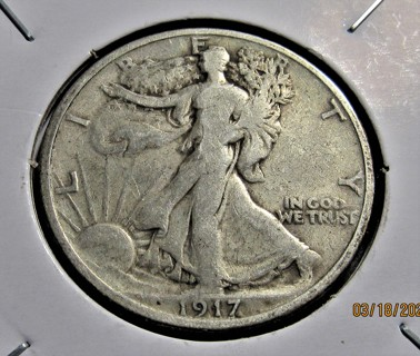 ★★ 1917 WALKING LIBERTY HALF DOLLAR  VG ★★  **90% SILVER**