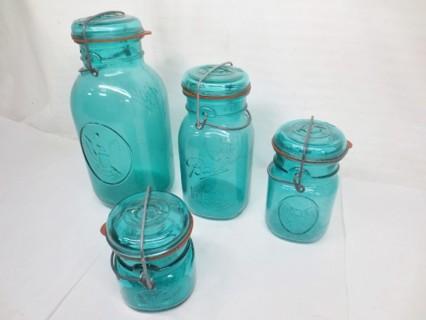 Vintage Four Ball Ideal Teal Glass Mason Jars & Lids