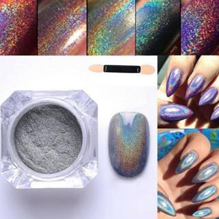 2g/BOX Rainbow Holographic Laser Powder Nail Glitter Chrome Pigments Decor CN