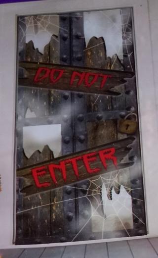 HALLOWEEN DOOR COVER DECORATION DO NOT ENTER 30 INCHES X 72 INCHES INDOOR/OUTDOOR WATERPROOF