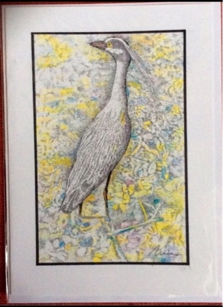 "TRI COLOR HERON - 5 x 7"" art card by artist Nina Struthers - GIN ONLY"