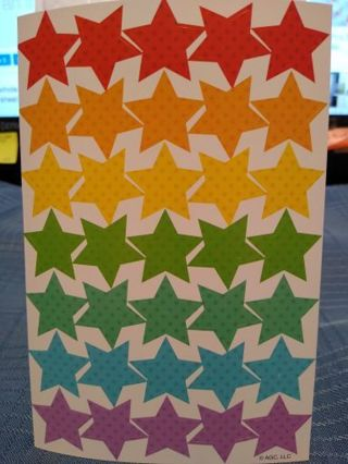 1 WHOLE SHEET OF RAINBOW COLORED W/ POKA DOTS STAR STICKERS