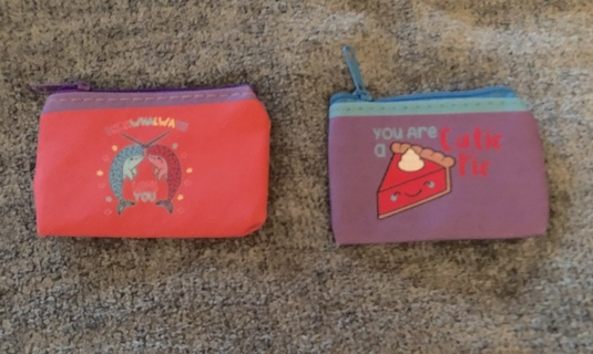 2 BRAND NEW Mini Coin Purses. Zipper Top and Pretty Colors Various Styles.