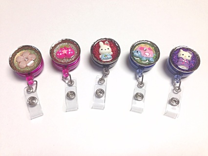 Kawaii badge reel, cherries, hello kitty, bunny, turtle, flower
