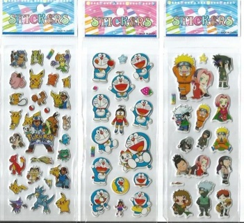 Variety Pack NEW JAPANESE Manga Pop Up BUBBLE Stickers Vibrant Detailed CHIBI FREE SHIPPING