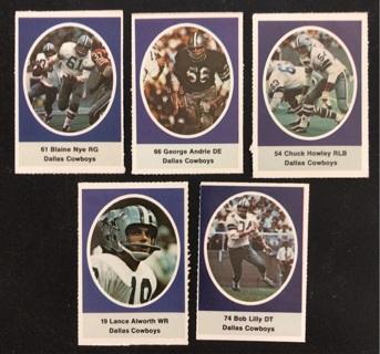 (5) Dallas Cowboys 1972 Sunoco FB Stamps