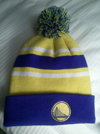FREE  NEW Embroidered Golden State Warriors Pom-Pom Beanie Cap FREE SHIPPING  Blue   Yellow Warm Knit Hat d0f36cbf0f1e