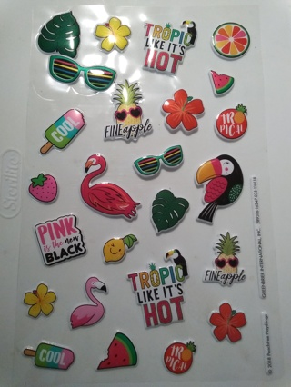 Pink is the New Black Puffy Tropical Stickers