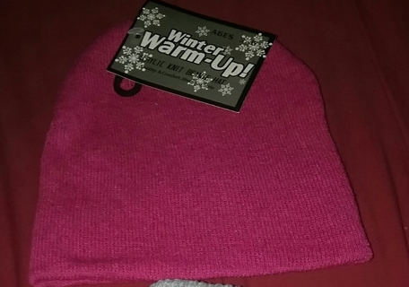 Winter Warm-up Acrylic Knit Beanie Hat Ages 3-6 Pink
