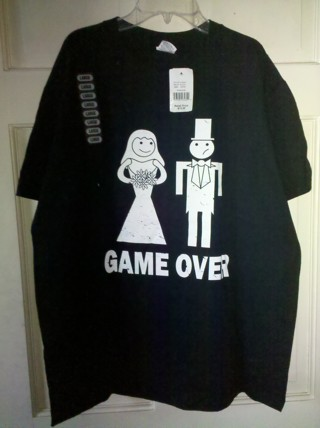 """NEW! Wedding Marriage """"Game Over"""" T-Shirt"""