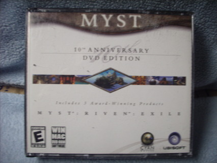 MYST PC Game, 10th Anniversary Edition, all 3 Discs (2 Sequels) MINT Condition!