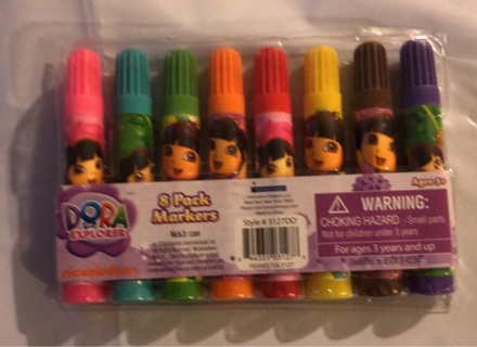 """Brand New: 8 Pack Colorful """"Dora The Explorer"""" Markers"""