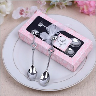1 Pair LOVE Drink Tea Coffee Spoon Bridal Shower Wedding Party Favor Gift Hot