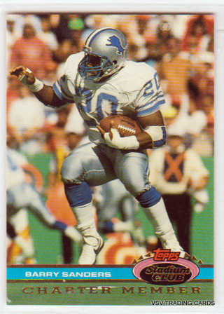 Barry Sanders, 1991 Topps Stadium Club Charter Member Card, Detroit Lions