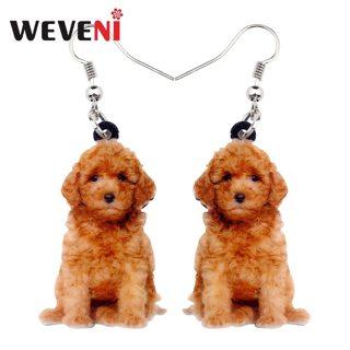 WEVENI Acrylic Lovely Teddy Dog Earrings Big Long Dangle Drop Animal Jewelry For Women Girls Ladies