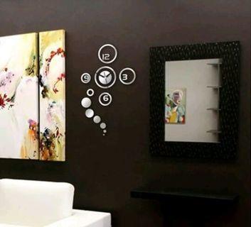 3D Modern new wall art large mirror clock home living room decor DIY wall clock