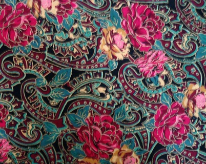 Free Quilting Fabric Paisley Roses Red Gold Teal Burgundy