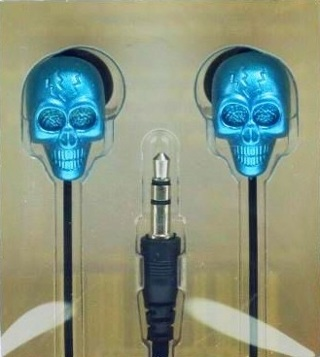 NEW Phone Crystal Skull Noise Isolation Earbuds (BLUE)