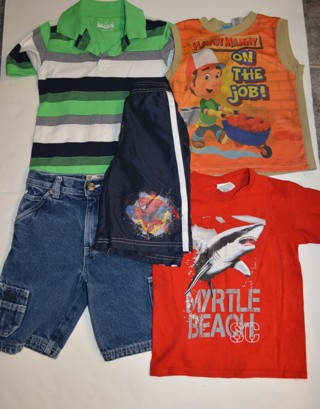 Boys Summer Clothes Size 4-5  (5) Pieces Shirts Shorts Bathing Suit