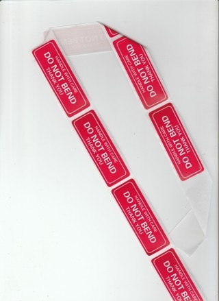 Eight Do Not Bend Labels
