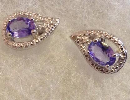 Tanzanite tear drop Plantinum over 925 sterling silver earrings