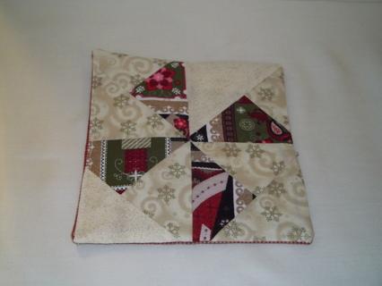 """Quilted Pinwheel Winter Mug Rug, 7"""" x 6 1/2"""""""