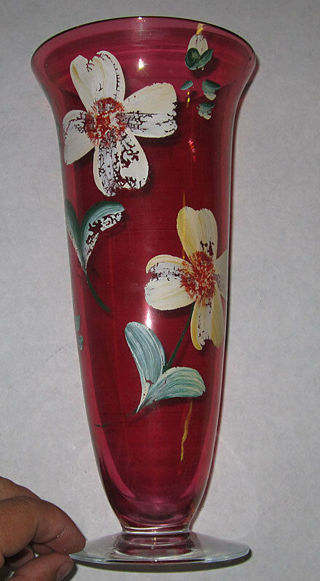 Cranberry glass hand painted vintage vase footed antique crystal flower art 2