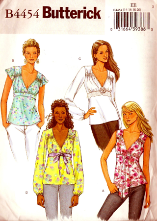 Free Butterick B4454 Misses Spring And Summer Tops And Flower