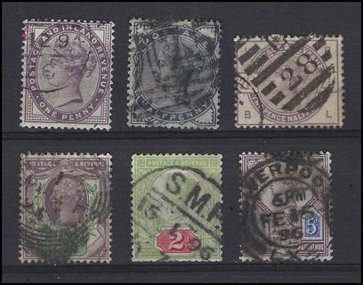 1881-7 Great Britain Queen Victoria stamps (6), U/F-VF, with Scott IDs, est CV $47.70