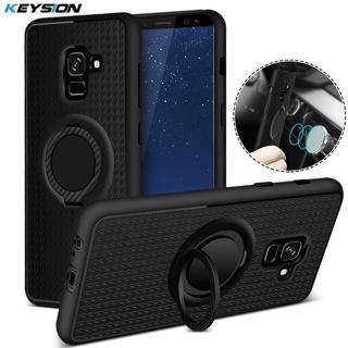 KEYSION Case for Samsung Galaxy A8 Plus (2018) Car Magnetic Suction Bracket Finger Ring Soft TPU B