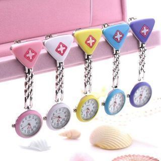 Hanging Pocket Watch Triangle Nurse Clip Fob Brooch Pendant Fobwatch Red Cross