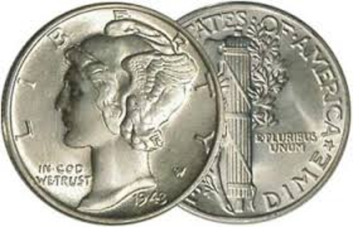 One Mercury Silver Dime Coin in Brilliant Uncirculated Condition with FREE Shipping!