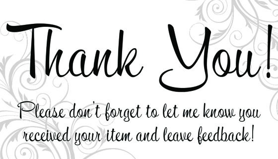 Thank You Card For Your Items