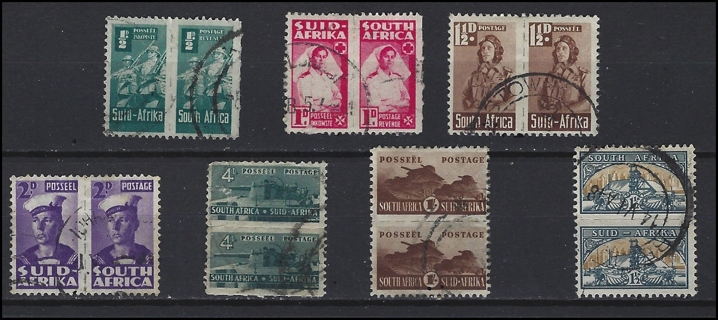 1940s South Africa Bi Lingual Pairs (7) War Effort reduced size stamps, U/VF, est CV $19.18