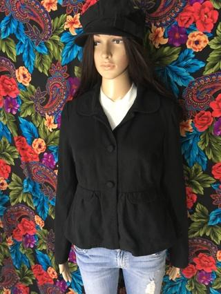 Solid black coat fashion jacket