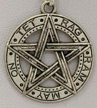 "☽✪☾ ""Tet-Rag-Ram-May-On"" Protective Pentacle Pentagram Tetragrammatron Pendant, Pagan, Wicca ☽✪☾"