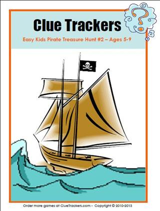 Free Kids Pirate Themed Treasure Hunt Printable Party Game Ages 5-9 Birthday
