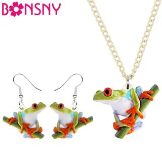 Bonsny Acrylic Cartoon Frog Necklace Earrings Jewelry Sets Funny Cute Animal Fashion Decorations