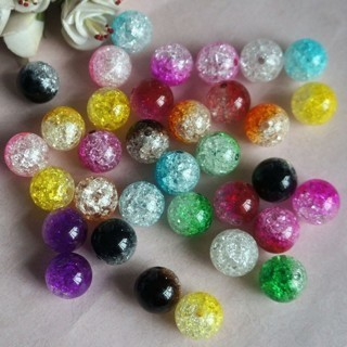 [GIN FOR FREE SHIPPING] 100PCs Multicolor Crystal Crack Beads Glass Round Loose Spacer